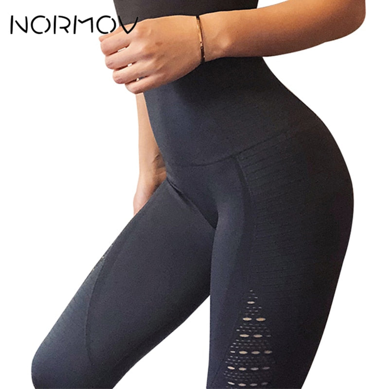 NORMOV Seamless High Waist Yoga Leggings Tights Women Workout Mesh Breathable Fitness Clothing Training Pants Female 5 Color