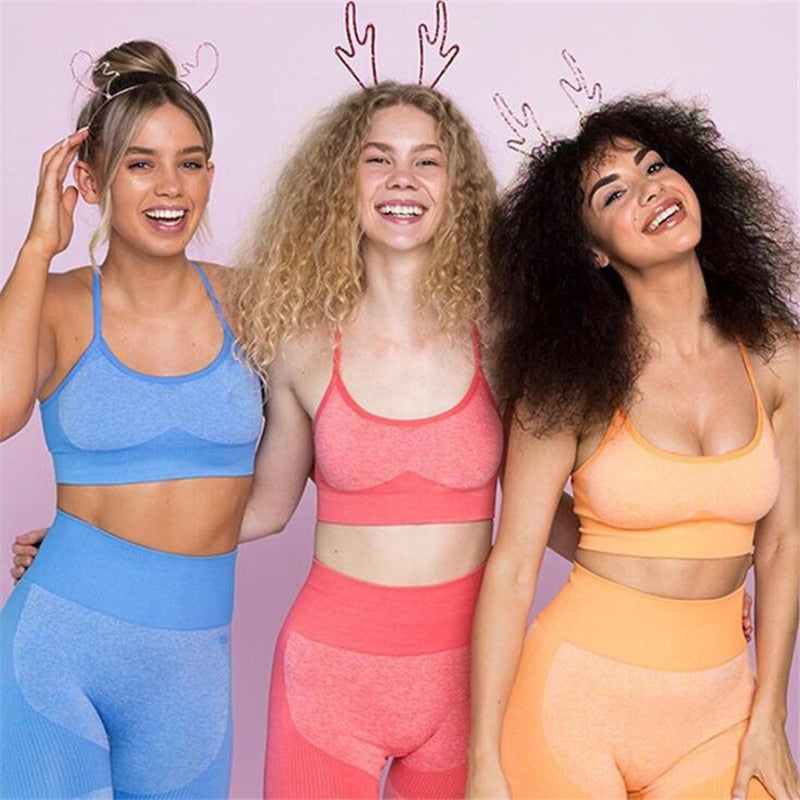 Seamless Yoga Set Fitness Clothing Sportswear High Waist Women Gym Leggings Tights Padded Push-up Sports Bra  Sports Sets 1874