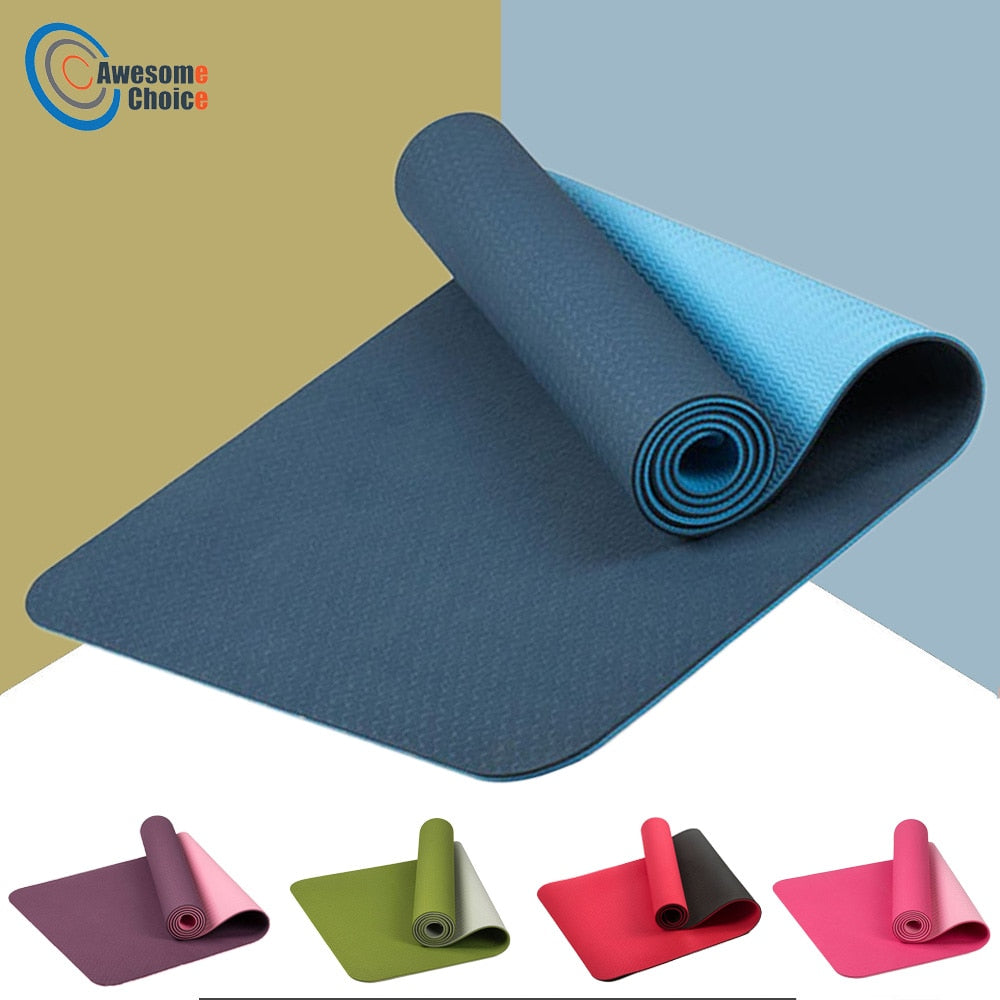 183*61cm 6mm Thick Double Color Non-slip TPE Yoga Mat Quality Exercise Sport Mat for Fitness Gym Home Tasteless Pad