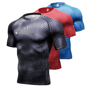 Men Running Shirt Compression Quick Dry Breathable Gym Shirt Elastic Sweat Sport Shirt Fitness Men Clothing Rashguard Male Tops