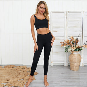 seamless yoga sets women gym clothes sports wear activewear ribbed gym set fitness clothing sport leggings and top set