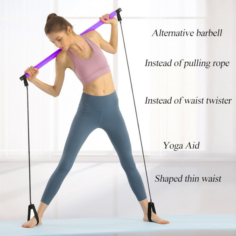 Yoga Resistance Stick Pilates Stick Bodybuilding Gym Tube Elastic Bands Fitness Tool Training Exercise Tool Indoor Sports #Y7