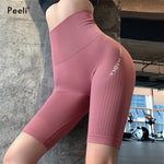 2020 High Waist Seamless Yoga Shorts Women Fitness Clothing Push Up Hip Gym Shorts Sports Letter Print Workout Short Leggings