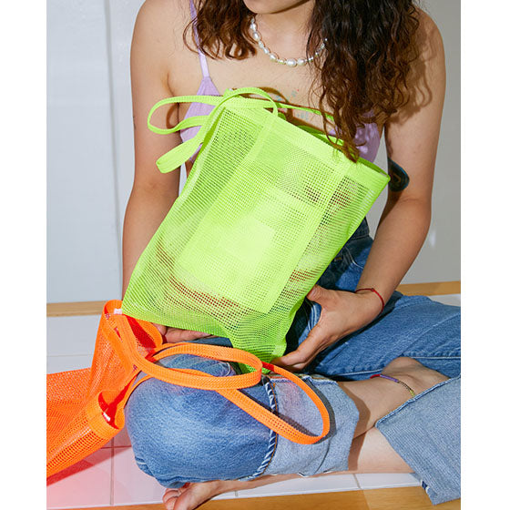 Mesh basket bag - neon