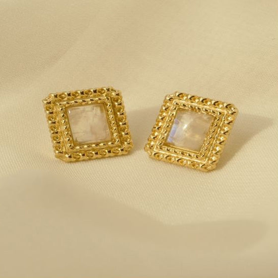 Square Moonstone Earring