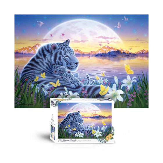 Scene Jigsaw Puzzle 500pcs White tiger family in the moonlight(T-A05-1004)