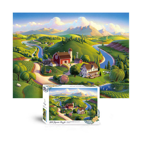 Scene Jigsaw Puzzle 500pcs farm valley in spring day(T-A05-1014)