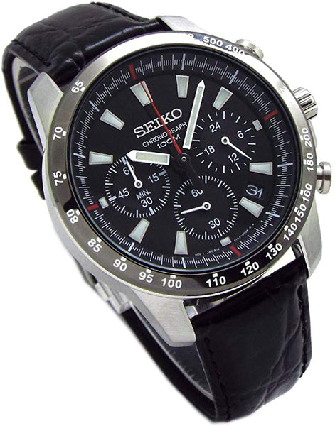 Seiko SSB031P1 Chronograph Wristwatch *Genuine Leather Strap Set, Genuine Seiko Domestic Distribution Black