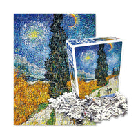 Famous paintings Jigsaw Puzzle 150pcs Road with Cypress and Star