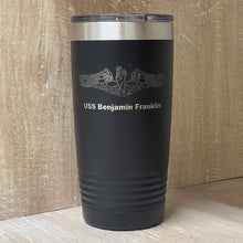Load image into Gallery viewer, US Navy Submarine Warfare Insignia Tumbler.