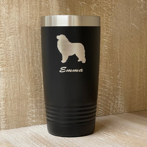 Dog Silhouette Custom Engraved Tumbler - Over 450 Breeds!