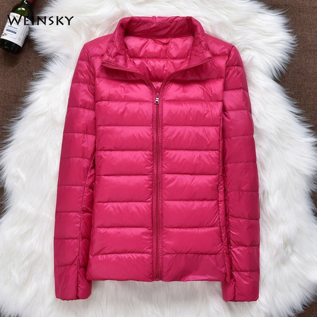 Winter Women Ultralight Thin Duck Down Hooded Parka
