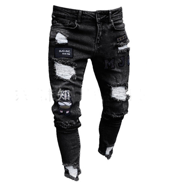 Stretchy Ripped Slim Jeans
