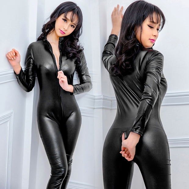 Sexy Faux Leather Catsuit
