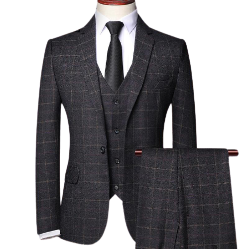 Burgundy Label Plaid  Suit