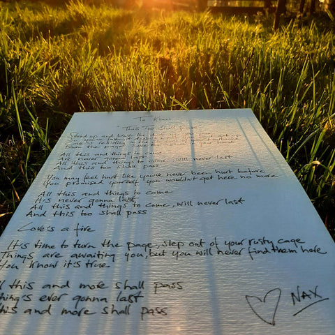 Handwritten Song Lyrics by Nax
