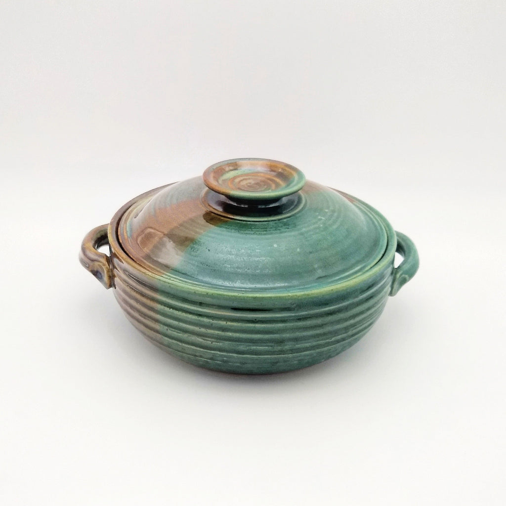 Handmade Pottery Covered Casserole Dish, Large - Seaweed