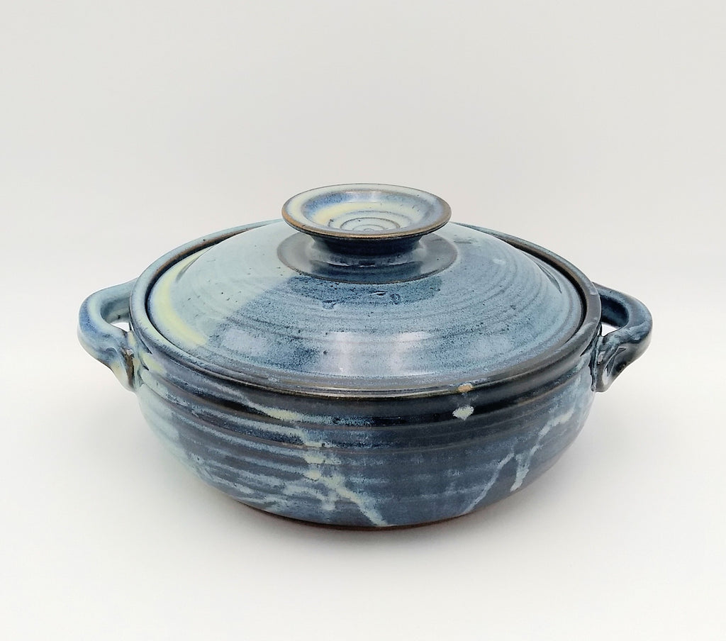 Handmade Pottery Covered Casserole, Small -  Blue Cheese