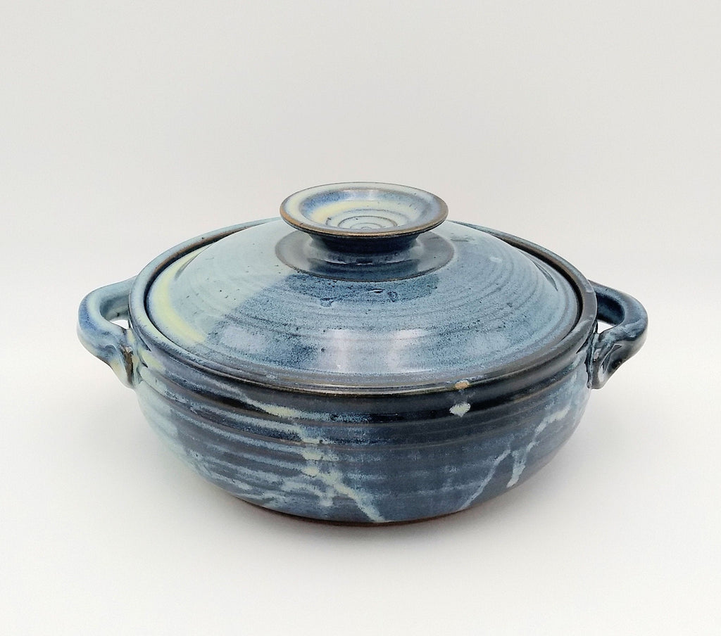 Handmade Pottery Covered Casserole Dish, Large - Blue Cheese