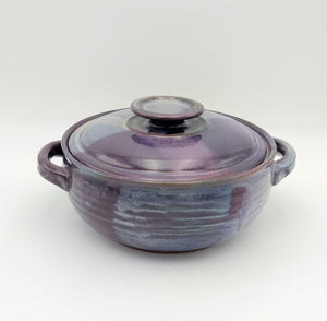 Handmade Pottery Covered Casserole Dish, Large - Eggplant