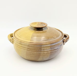Handmade Pottery Covered Casserole Dish, Large - Mustard