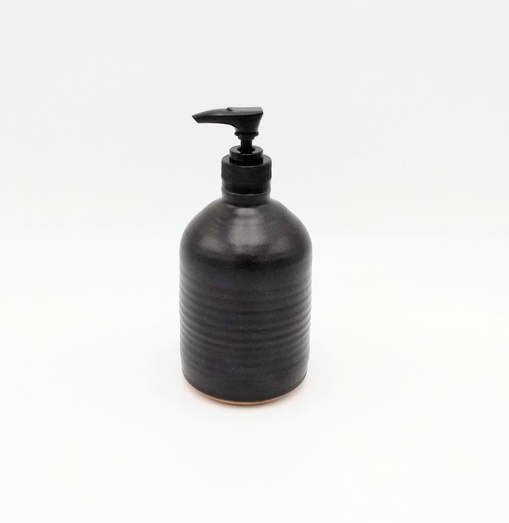 Handmade Pottery Soap Pump, Tall - Espresso