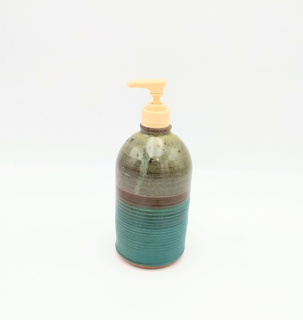 Handmade Pottery Soap Pump, Tall - Seaweed