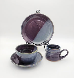 Handmade Pottery Dinner Bowl - Eggplant