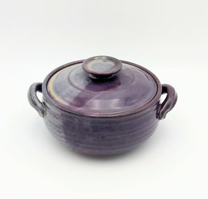 Handmade Pottery Covered Casserole, Small - Eggplant