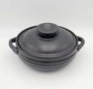 Handmade Pottery Covered Casserole Dish, Large - Espresso