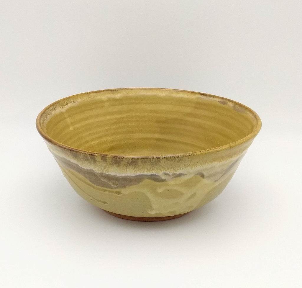 Handmade Pottery Serving Bowl - Mustard