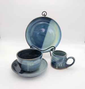Handmade Pottery Dinner Set, 4 Piece - Blue Cheese