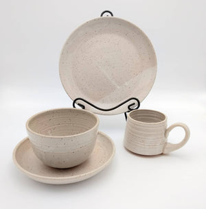 Handmade Pottery Dinner Set, 4 Piece - Vanilla Bean