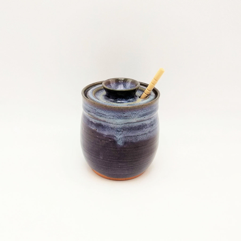 Handmade Honey Pot - Eggplant