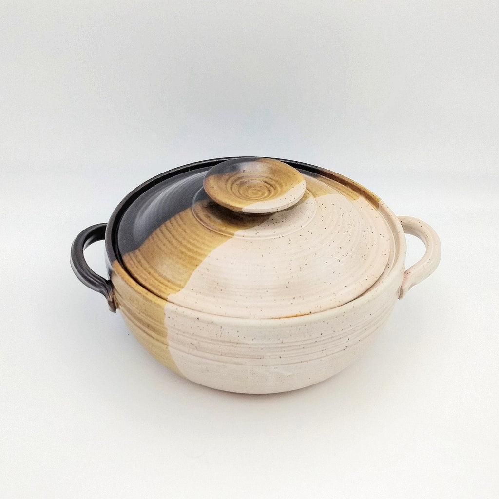 Handmade Pottery Covered Casserole Dish, Large - Macchiato