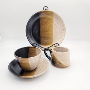 Handmade Pottery Dinner Set, 4 Piece - Macchiato