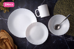 Luminarc 24pcs White Feston Dinnerset