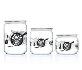Luminarc 3pcs Decorative Lets Cook Jar - (large, Medium & Small size jars)