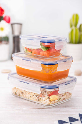 Luminarc 3pcs Purebox Active Rectangular Food Container Set