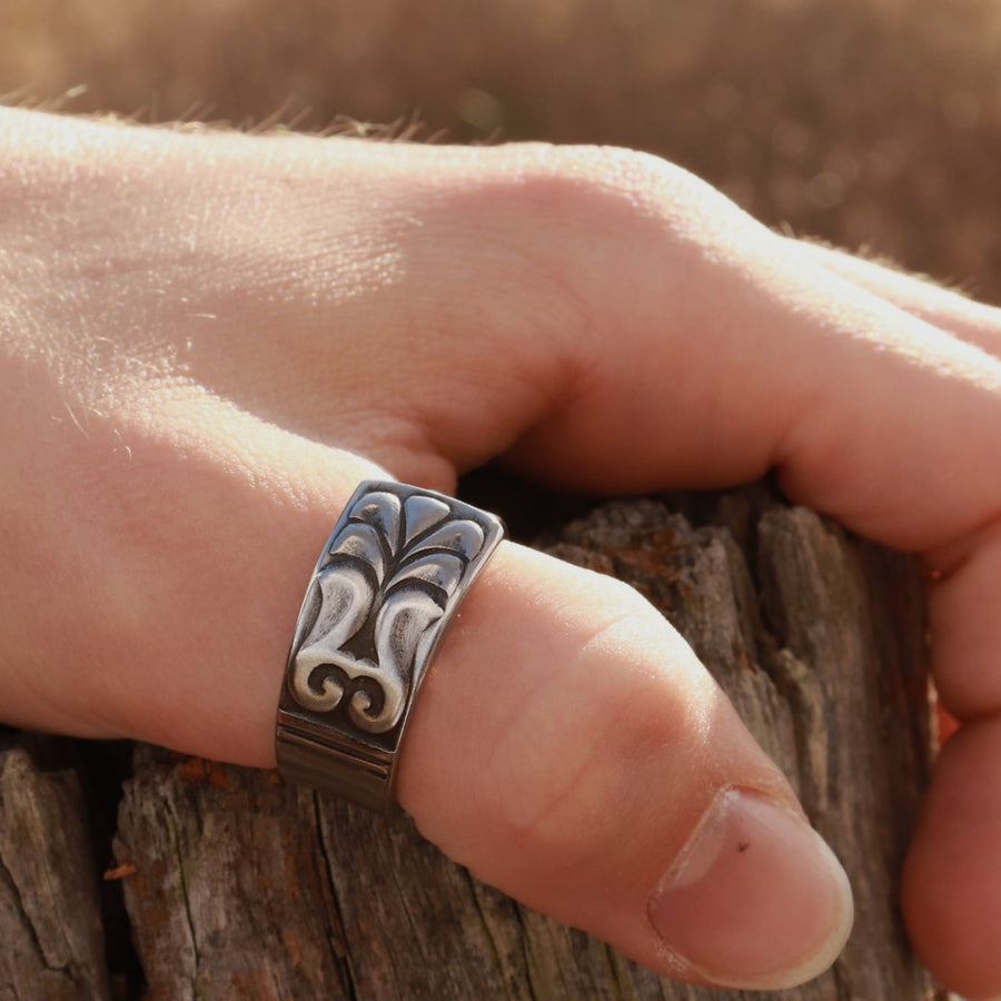 Stainless Steel Totem Spoon Ring