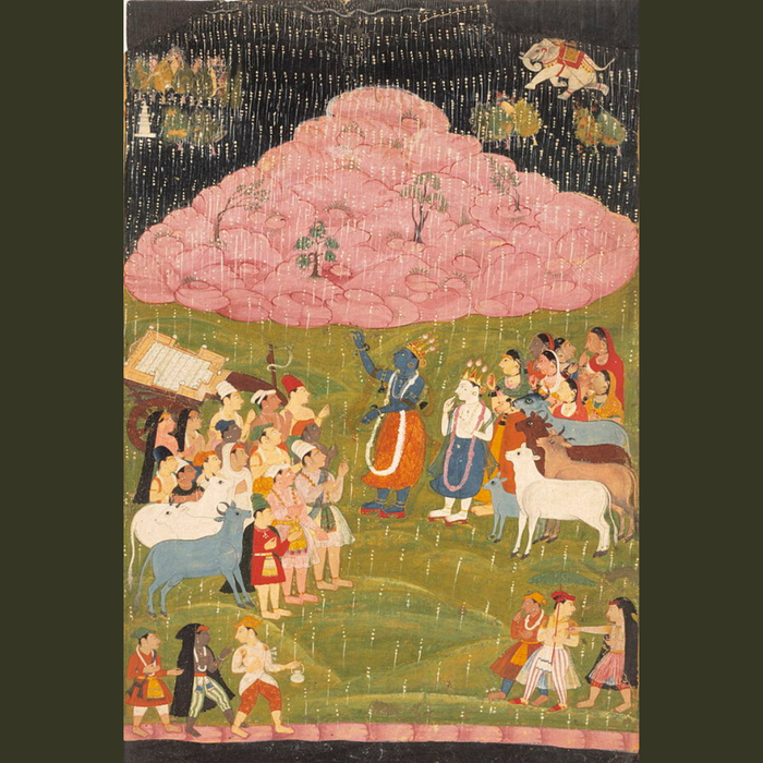 Krishna raising Mount Govardhan, an illustration from the Bhagavata Purana manuscript