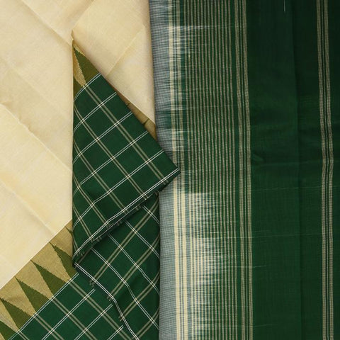Off White & Green Evening wear Saree