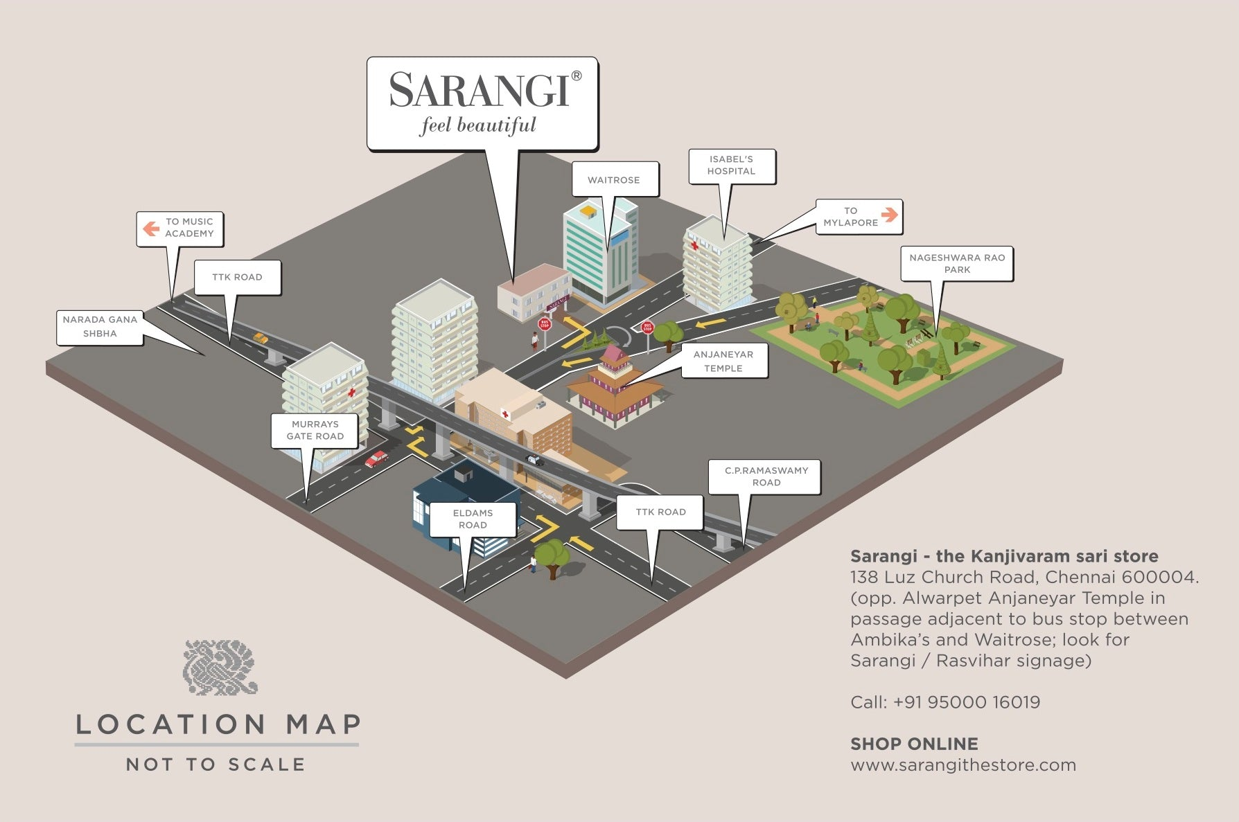 3D Image map of Sarangi, the Kanjivaram sari store