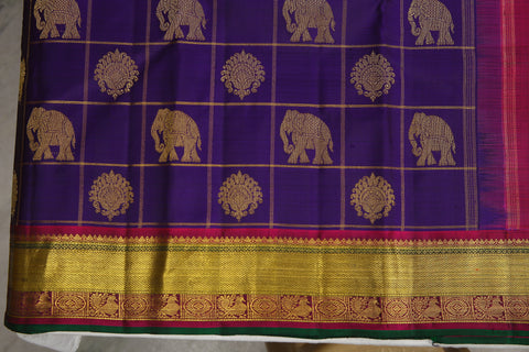 Elephant motif in the body of a saree