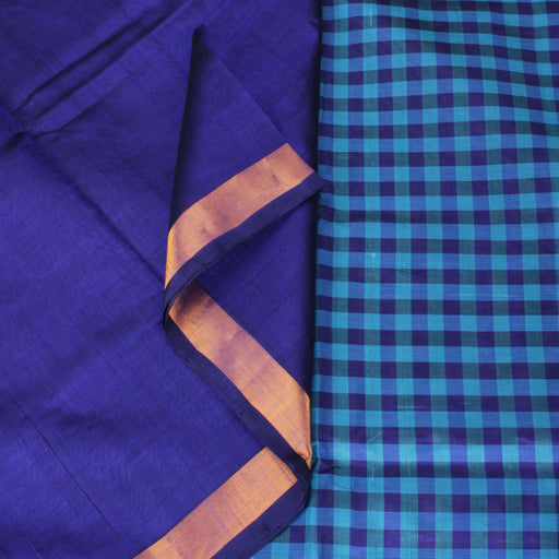 Sarangi Handwoven Silk-Cotton Sari - 1302435BLU