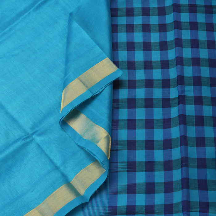 Sarangi Handwoven Silk-Cotton Sari - 1302440BLU