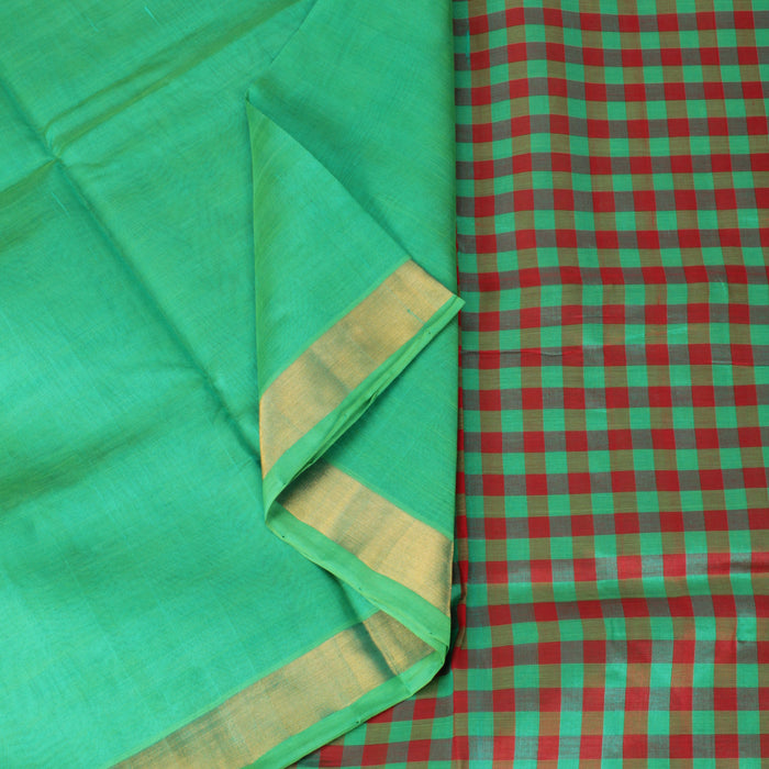 Sarangi Handwoven Silk-Cotton Sari - 1302445GRE
