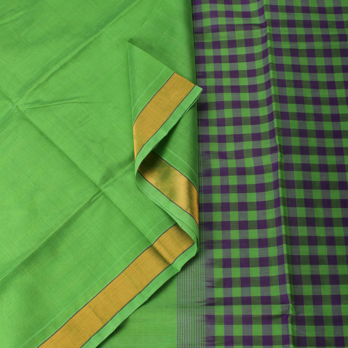 Sarangi Handwoven Silk-Cotton Sari - 1302448GRE