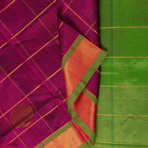 Sarangi Handwoven Silk-Cotton Sari - 1302529PUR