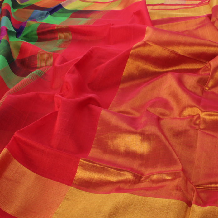 Sarangi Handwoven Silk-Cotton Sari - 1363156MUL
